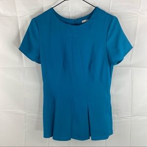 Blue Shortsleeve Corporate Style Blouse Top Size 6